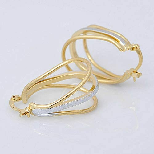 New 14K Yellow & White Gold Filled Two-Tone Wide Triple Band Hoop Earrings