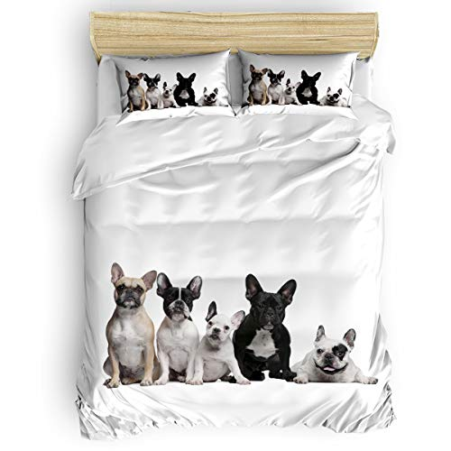 Home Bedding Set 4 Piece Duvet Cover Set Twin Size French Bulldog Soft Bed Sheets, Duvet Cover, Flat Sheet and Pillow Covers for Children/Adults/Teen