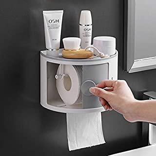 Life'Bea Waterproof Toilet Roll Holder with Phone Shelf - Dust Proof Wall Mounted Bathroom Toilet Shower Paper Dispenser -...