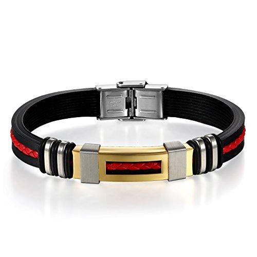 JewelryWe Schmuck Herren Armband, Klassisch Edelstahl Kautschuk Armreif Armschmuck mit Geflochten Leder Seil, Schwarz Gold Rot Silber