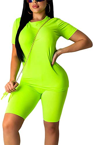 Trainingsanzug Damen Sexy T-Shirt Bodycon Shorts Kurze Hosen Set Sommer Outfits für Joggen Yoga (Gelb, M)