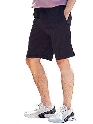 Mens Shorts with Zipper Pockets Quick Dry Travel Shorts (Medium, Black & Print)
