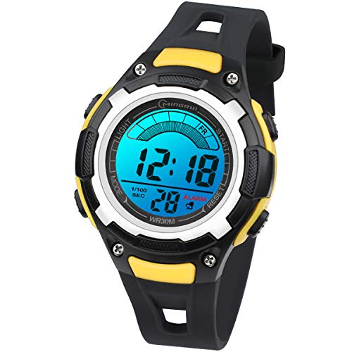 Reloj Digital Deportivo para Niños, Reloj de Pulsera Niña Multifunción con Pantalla LED Impermeable 30M para Niños, Niñas Reloj Infantil Aprendizaje para Niños 4-15 Años (Rojo) (Negro Amarillo)