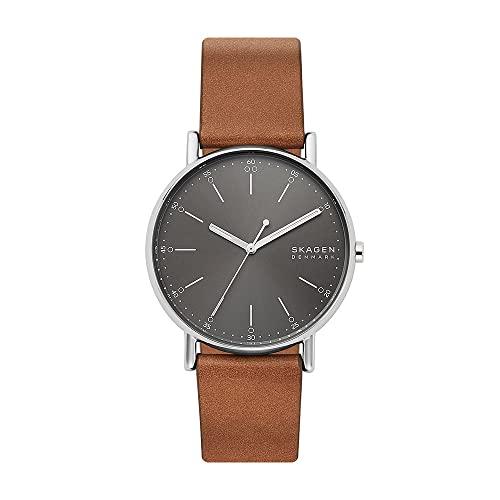 Skagen Herren Analog Quarz Uhr mit Leder Armband SKW6578