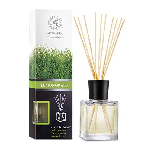 Difusor de Lemongrass 200ml - con Aceite de Lemongrass Natural - Intensivo - Fragancia Fresca y de Larga Duración - Difusor de Caña Perfumado con 8 Palos de Bambú - 0% Alcohol