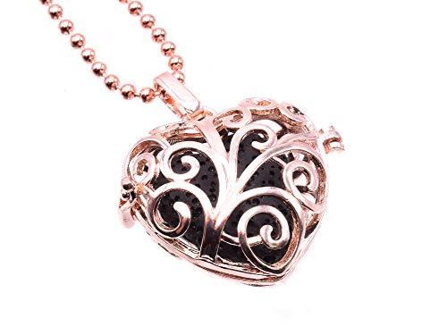 Halskette mit Herz-Medaillon in Rotgold, Aromatherapie, mit 3 Steinen, um ätherische Öle Ihrer Wahl hinzuzufügen.