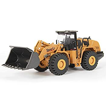 TongLi 7714 Indoor 1 50 Static Metal Front End Loader Toy Truck Diecast Construction Vehicle Bulldozer for Kids Toddlers and Adults Movable Zinc Alloy Bucket Rubber Tyres Well Workmanship