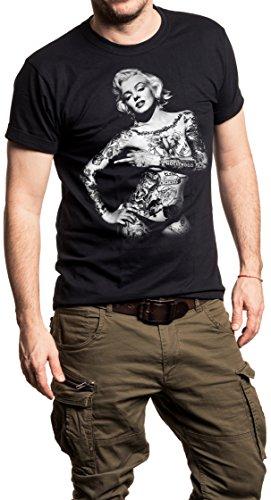 Maglietta Marilyn Monroe - T-Shirt Tattoo - Pin Up Uomo Nera XL