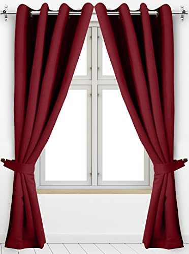 Utopia Bedding 2 Panels Grommet Blackout Curtains with 2 Tie Backs, Thermal Insulated for Bedroom, W52 x L84 Inches, Burgundy