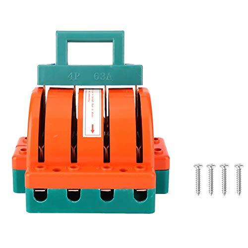 Interruptor de desconexión de cuchillo de doble tiro, suministros eléctricos rojo anaranjado 4P AC380V 63A/100A, interruptor eléctrico suministros eléctricos(4P 63A)