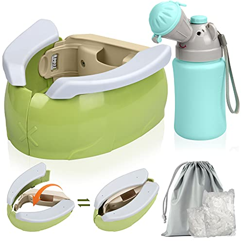 Portable Potty with Urinal,ICNOW Portable Toddler Potty Seat for Travel,Potty Training Seat,Urinal and Kids Portable Folding Toilet Chair Seat with 100 Potty Liner Camping Car Travel for Baby