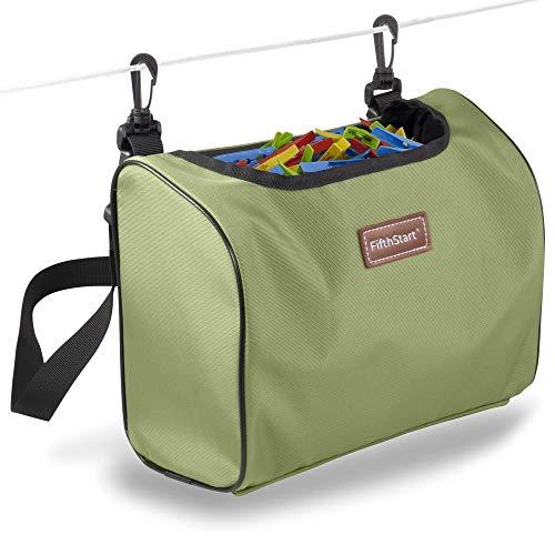 FifthStart Wäscheklammerbeutel zum Tragen oder Aufhängen – Wäscheklammern Beutel 300 Wäscheklammern, mit Tragegurt für Hüfte und Schulter - (900D Gewebe, Grün)