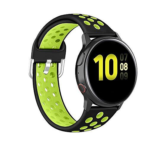 Onedream Armband Kompatibel mit Samsung Galaxy Watch 3 41mm, Kompatibel mit Galaxy Active 2 40mm 44mm Armband, Silikon Sportarmband Schnellverschluss Uhrenarmband 20mm Schwarz/Pistac (Kein Uhr)