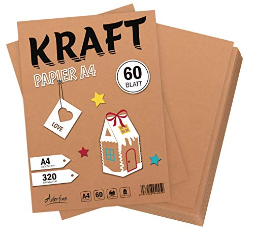 Absofine 60 fogli di Carta Kraft DIN A4 320 gr/mq Natura in cartone di alta qualità Ideale per FAI DA TE E (DIY) Marrone