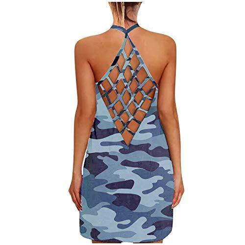 Fcostume Femme Sexy Uni Backless Bandage Cross Tops T-shirt Femmes Été Décontracté Sport Fitness Yoga Camisole Débardeur Débardeur - Noir - Taille Unique