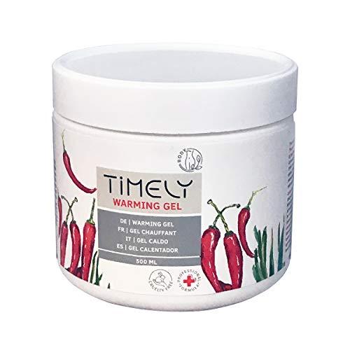 Timely - Gel efecto calor con alcanfor para el alivio muscular, 500 ml