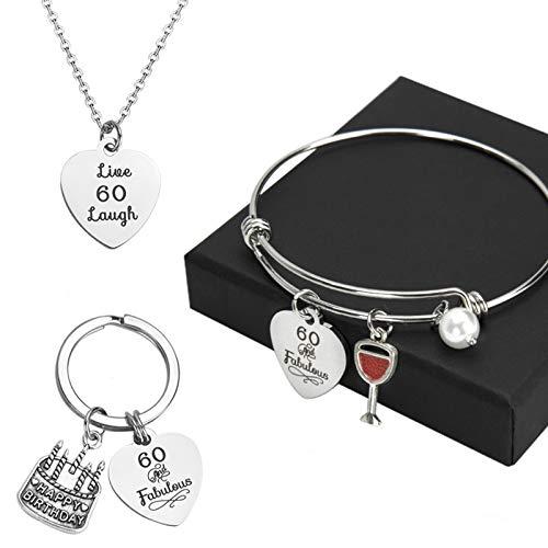60e Cadeau Anniversaire Femme, Ensemble de Bijoux d'anniversaire Collier Bracelet Porte-clés Cadeaux Inspirants 3pcs
