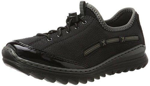 Rieker Damen M6264 Sneaker, Schwarz (Schwarz/Schwarz/Schwarz/Schwarz/grey), 39 EU