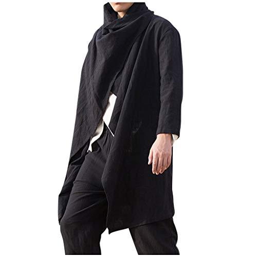 TIREOW Herren Männliche Mode Frühjahr Umhang Mittellange Poncho Cape Strickjacke Langarm Unregelmäßiger Saum Bluse Top (XL, Schwarz)