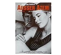 勝手にしやがれジャン=リュックゴダール映画キャンバスアートポスターと壁アート写真プリントモダンインテリアポスター-60x80cmフレームなし