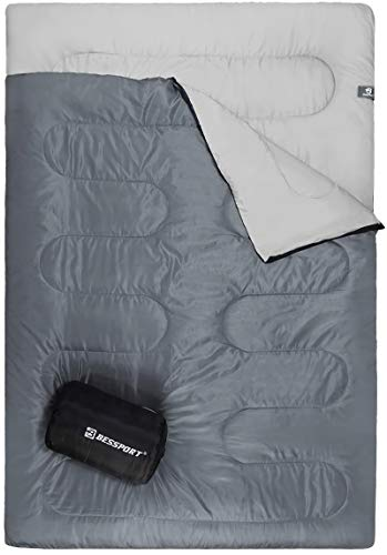 Bessport Lightweight Sleeping Bag, 1-2 Person Camping Sleeping Bag for 3 Season with Compression Sack Fits Kid/Adults Traveling, Backpacking, Hiking, Outdoor Activities (2 Person Grey)