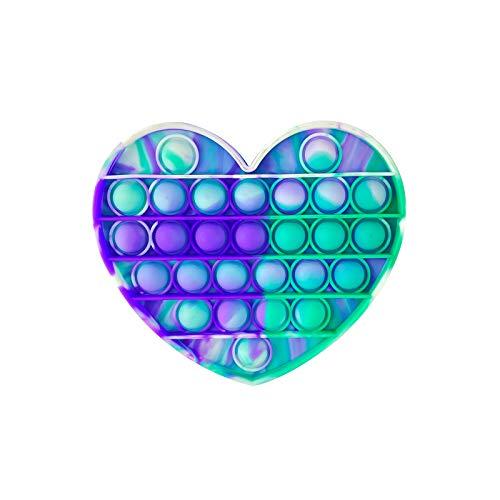 PAIDE P Push Pop Pop Bubble Juguete Antiestres. ,Relajante . Juguete sensorial, Autismo. Fidget Toy Pop it. Alivia ansiedad. Niños y Adultos. (Corazón Verde-Morado)