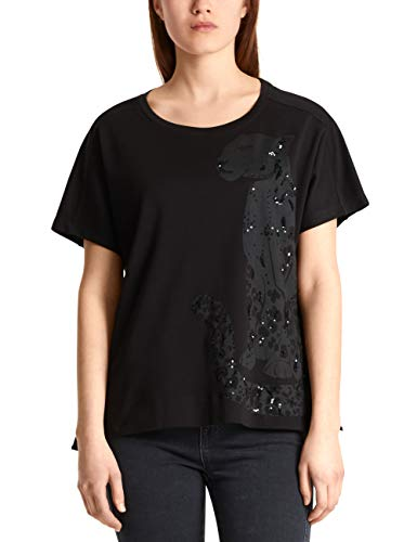 Marc Cain Additions Damen MA 48.63 J17 T-Shirt, Mehrfarbig (Black 900), 36 (Herstellergröße: 2)