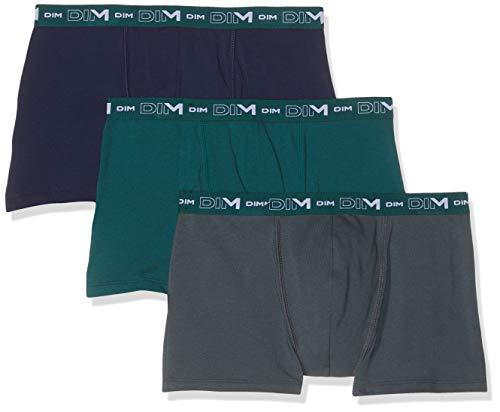 Dim Coton Stretch Boxer X3, Multicolore (Vert Pacific/Granit/Denim 8nc), L (Pack de 3) para Hombre