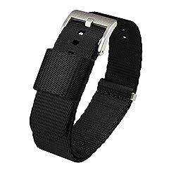cheap Black 20mm – Barton Jetson NATO Strap – Stainless Steel Buckle – Nylon Safety Belt…