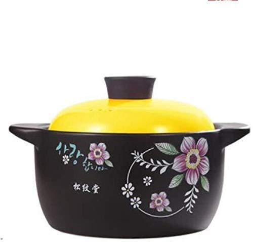 GCP Casserole in Ceramic Stone Pan with Lid.Bibimbap Slow Stone Bowl Casserole (Color: D, Size: 2.8L)