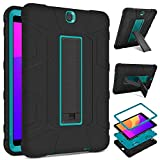DETUOSI Samsung Galaxy Tab S2 9.7 inch Case 2015 (SM-T810/T813/T815), Shockproof Rugged Armor Full-Body Kickstand Protective Cover for Samsung Tab S2 9.7' SM-T810/T815/T813 Tablet 2015 (Black&Blue)