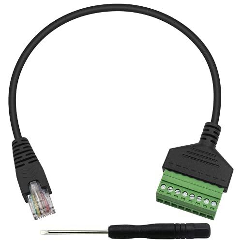 Duttek Cable de terminal de conector RJ45, divisor RJ45, macho a 8 pines, cable de conector de terminales de bloque de tornillo Cat7, Cat6, Cat5, Cat5e, cable de Ethernet