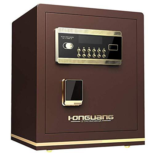 NewbieBoom - Caja de seguridad electrónica con apertura de poste con ranura de gota, 38 x 33 x 45 cm, armario de seguridad con cerradura de combinación digital para casa, oficina, dinero, pistola, dinero en efectivo, hotel, color negro, marrón