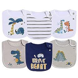 8. Maiwa Cotton Waterproof Baby Dinosaur Bibs (6-pack)
