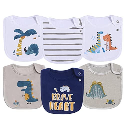 6 Pack Cotton Waterproof Dinosaur Baby Bibs for Boys for Drooling Eating Teething with Snaps ,OEKO-TEX certified print