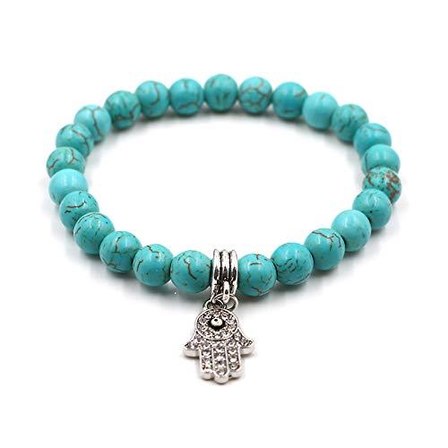 Main de Fatima - Bracelet en Perles natutrelles avec Pendentif Khamsa pour se protéger Contre Le Mauvais œil. Turquoise