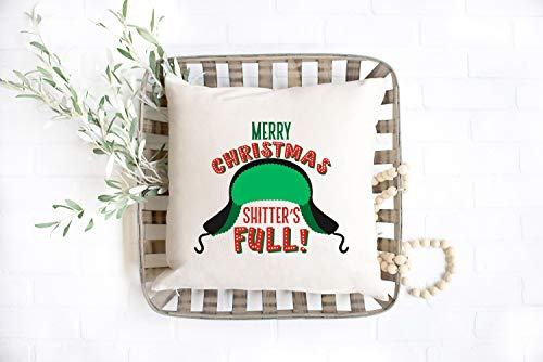'N/A' 16x16 Inch National Lampoons Christmas Vacation Shitters Full Pillow Covers Funny Christmas Vacation Decor Farmhouse Christmas Funny Christmas Decor, Cotton Linen