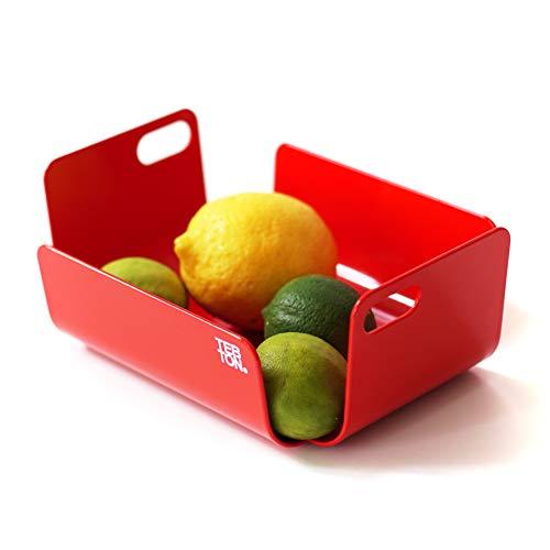 TEBTON® Made in Berlin | UNIBODY2 (Rot, Small) – Obst-Schale aus Metall, lebensmittelgerechte Deko-Schale mit Griff, 22 x 16 x 8 cm (LxBxH)