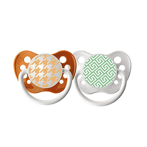 Ulubulu Expression Pacifier Set, Unisex, Greek Key and Houndstooth, 0-6 Months