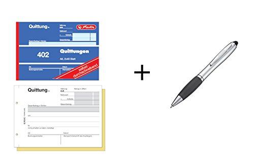 4x Quittungsblock 402 / A6 quer / 2x40 Blatt / selbstdurchschreibend + Touchpen Kugelschreiber