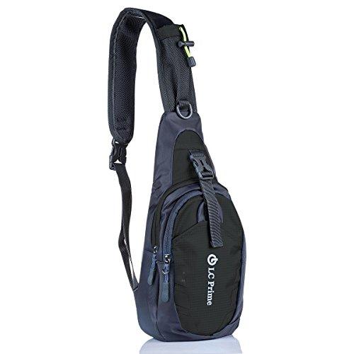 LC Prime® Chest Bag Borsa a Tracolla Outdoor Sling Bag Unbalance Backpack Zaino Borsa Multifunzione Borse Borsello Petto Satchel Busto Pacchetto Esterna per Escursionismo e Ciclismo Sport nylon fabric black 1