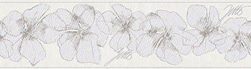 Livingwalls Bordüre Jette Joop Borte mit Blumen floral 5,00 m x 0,17 m braun grau weiß Made in Germany 959913 95991-3