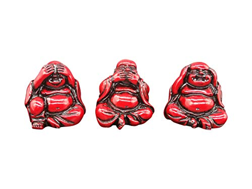 Small Charm Wise Feng Shui Hear See Speak No Evil Happy Face Red Laughing Buddha Figurine 2' Height Home Decor Statue Gift/Birthday Gift/House Warming Gift Set of 3