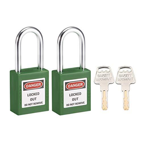 sourcing map Cerraduras de bloqueo y etiquetado de 1-1/2 pulgadas Grillete de misma llave Candado de seguridad verde 2uds
