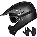 ILM Youth Kids ATV Motocross Dirt Bike Motorcycle BMX Downhill Off-Road MTB Mountain Bike Helmet DOT Approved (Youth-L, Matte Black)