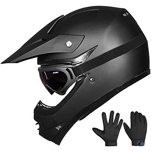 ILM Youth Kids ATV Motocross Dirt Bike Motorcycle BMX Downhill Off-Road MTB Mountain Bike Helmet DOT Approved (Youth-L, Matte Black)
