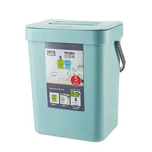AMAZOM Kompostbehälter Für Küchentheke, Hängender Kleiner Mülleimer Mit Deckel Unter Der Spüle, 1,3 Gallonen Montierbarer Komposteimer,Blau