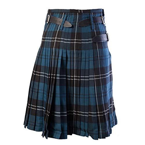 Escocés para Hombre Falda Escocesa Tradicional cinturón Plisado Cadena Bilateral marrón gótico Punk escocés tartán Pantalones Faldas Caliente L color4