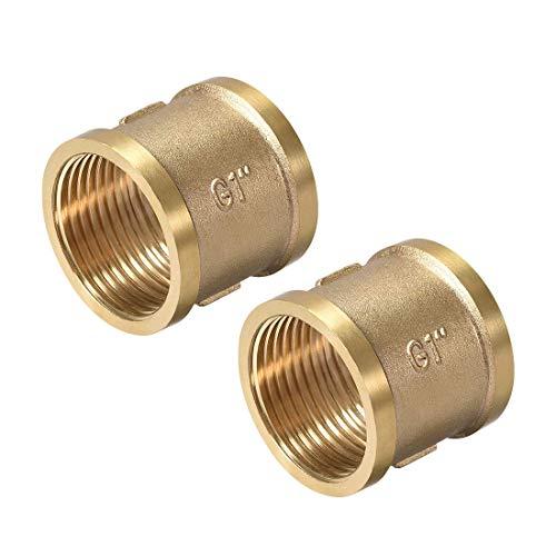 Messing Guss-Schlauchverbinder, Kupplung, 1 x 1 G, Innengewinde, goldfarben, 2 Stück
