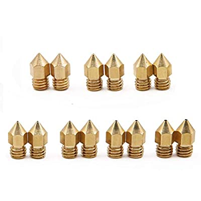 14 Pcs MK8 Extruder Nozzle 3D Printer Extruder Brass Nozzle Print Head with 7 Different Sizes for 1.75MM MK8 Makerbot, ANET A8 and CR-10 Printer